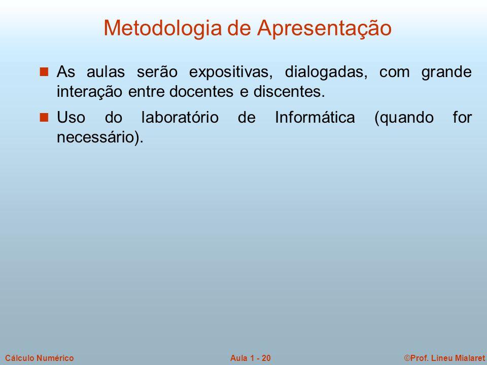 ©Prof. Lineu MialaretAula 1 - 20Cálculo Numérico Metodologia de Apresentação n As aulas serão expositivas, dialogadas, com grande interação entre doce