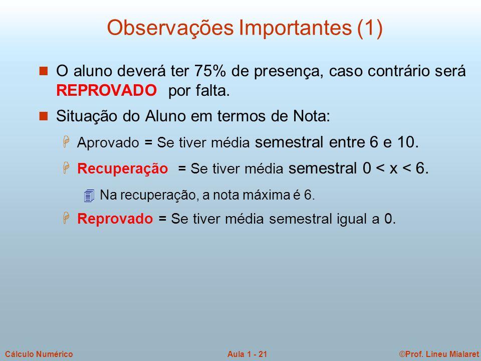 ©Prof. Lineu MialaretAula 1 - 21Cálculo Numérico Observações Importantes (1) n O aluno deverá ter 75% de presença, caso contrário será REPROVADO por f