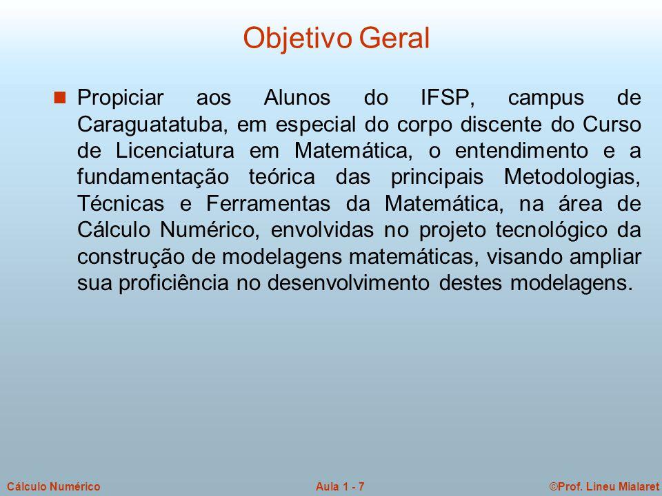 ©Prof. Lineu MialaretAula 1 - 7Cálculo Numérico Objetivo Geral n Propiciar aos Alunos do IFSP, campus de Caraguatatuba, em especial do corpo discente