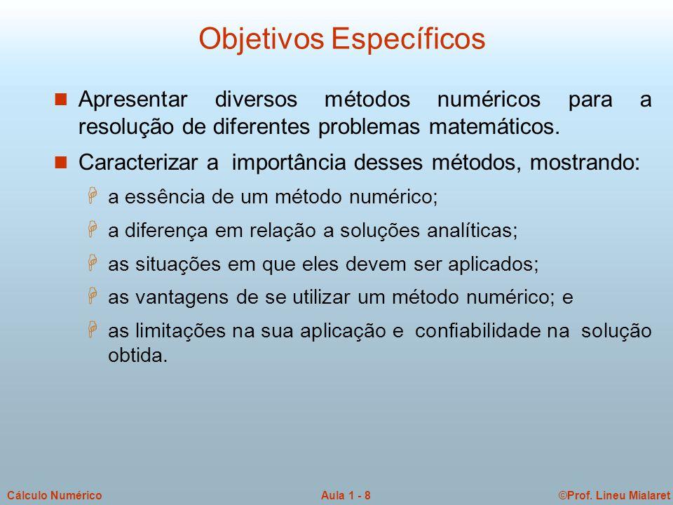 ©Prof. Lineu MialaretAula 1 - 8Cálculo Numérico Objetivos Específicos n Apresentar diversos métodos numéricos para a resolução de diferentes problemas