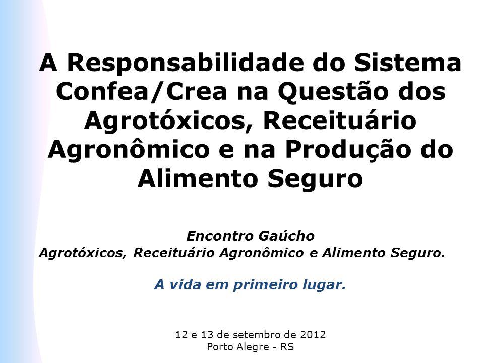 A Responsabilidade do Sistema Confea/Crea na Questão dos Agrotóxicos, Receituário Agronômico e na Produção do Alimento Seguro Encontro Gaúcho Agrotóxi