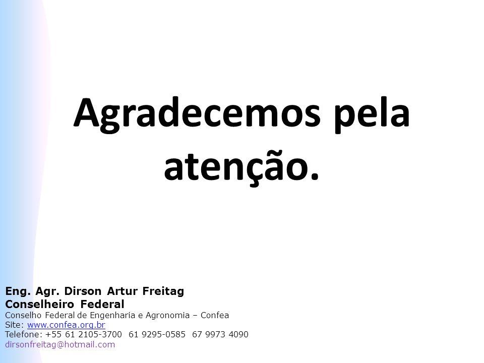 Agradecemos pela atenção. Eng. Agr. Dirson Artur Freitag Conselheiro Federal Conselho Federal de Engenharia e Agronomia – Confea Site: www.confea.org.