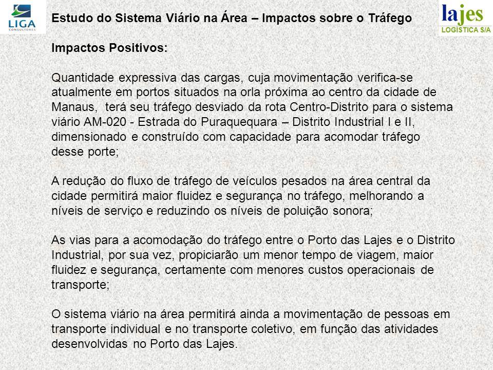 Estudo do Sistema Viário na Área – Impactos sobre o Tráfego Impactos Positivos: Quantidade expressiva das cargas, cuja movimentação verifica-se atualmente em portos situados na orla próxima ao centro da cidade de Manaus, terá seu tráfego desviado da rota Centro-Distrito para o sistema viário AM-020 - Estrada do Puraquequara – Distrito Industrial I e II, dimensionado e construído com capacidade para acomodar tráfego desse porte; A redução do fluxo de tráfego de veículos pesados na área central da cidade permitirá maior fluidez e segurança no tráfego, melhorando a níveis de serviço e reduzindo os níveis de poluição sonora; As vias para a acomodação do tráfego entre o Porto das Lajes e o Distrito Industrial, por sua vez, propiciarão um menor tempo de viagem, maior fluidez e segurança, certamente com menores custos operacionais de transporte; O sistema viário na área permitirá ainda a movimentação de pessoas em transporte individual e no transporte coletivo, em função das atividades desenvolvidas no Porto das Lajes.