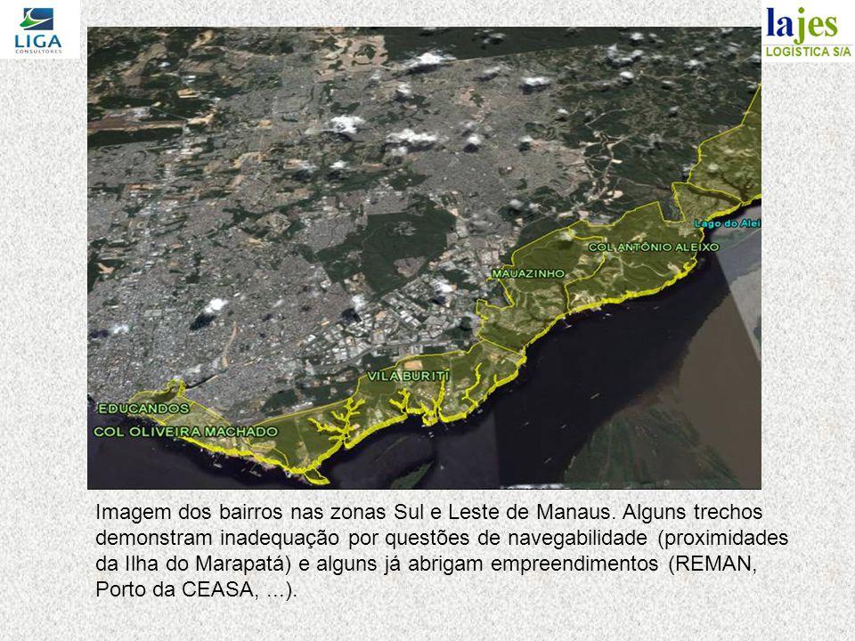 Imagem dos bairros nas zonas Sul e Leste de Manaus.