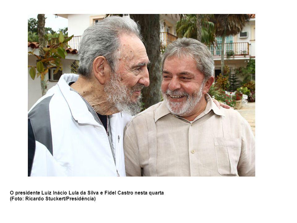 O presidente Luiz Inácio Lula da Silva e Fidel Castro nesta quarta (Foto: Ricardo Stuckert/Presidência)