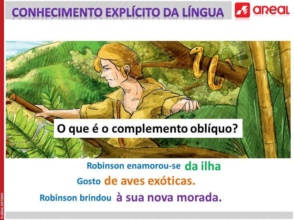 Robinson enamorou-se da ilha de aves exóticas. Robinson brindou à sua nova morada. Gosto O que é o complemento oblíquo?
