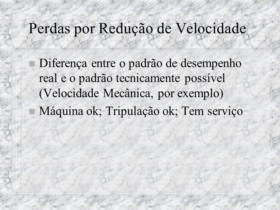 Perdas por Redução de Velocidade n Diferença entre o padrão de desempenho real e o padrão tecnicamente possível (Velocidade Mecânica, por exemplo) n M