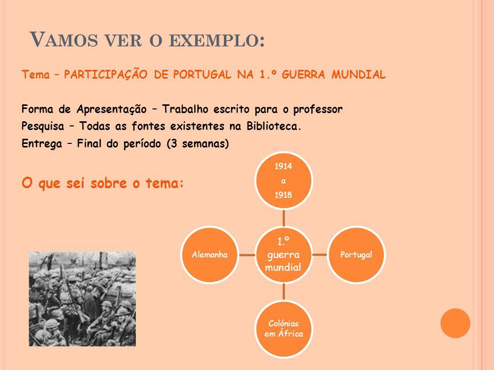 V AMOS VER O EXEMPLO : Tema – PARTICIPAÇÃO DE PORTUGAL NA 1.º GUERRA MUNDIAL Forma de Apresentação – Trabalho escrito para o professor Pesquisa – Toda