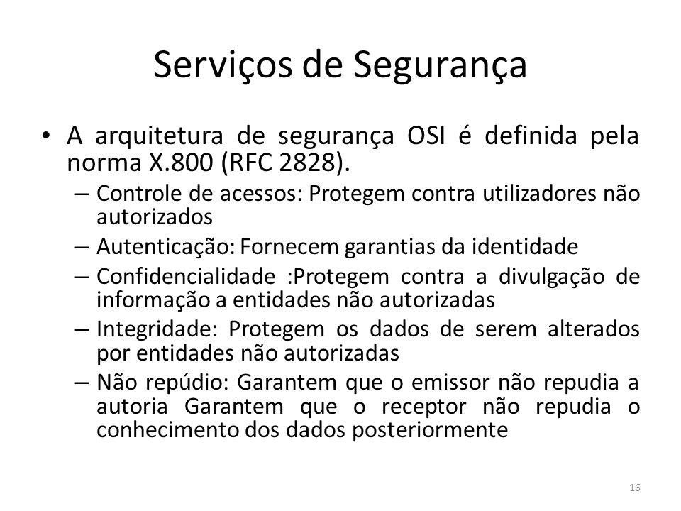 Serviços de Segurança A arquitetura de segurança OSI é definida pela norma X.800 (RFC 2828).