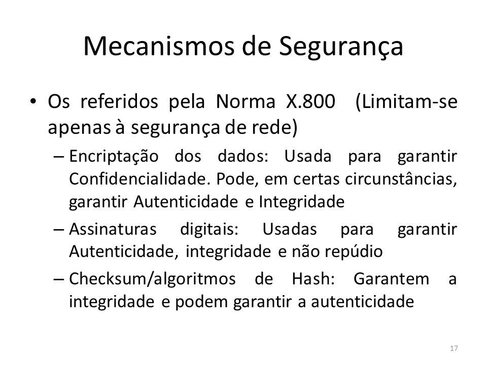 Mecanismos de Segurança Os referidos pela Norma X.800 (Limitam-se apenas à segurança de rede) – Encriptação dos dados: Usada para garantir Confidencialidade.