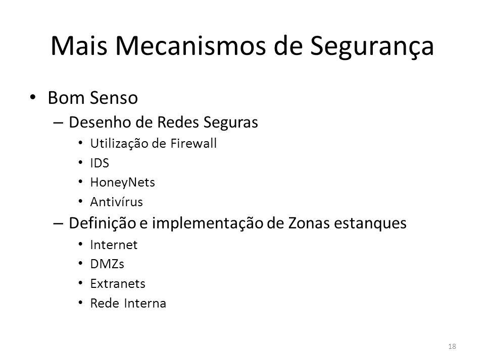 Mais Mecanismos de Segurança Bom Senso – Desenho de Redes Seguras Utilização de Firewall IDS HoneyNets Antivírus – Definição e implementação de Zonas estanques Internet DMZs Extranets Rede Interna 18