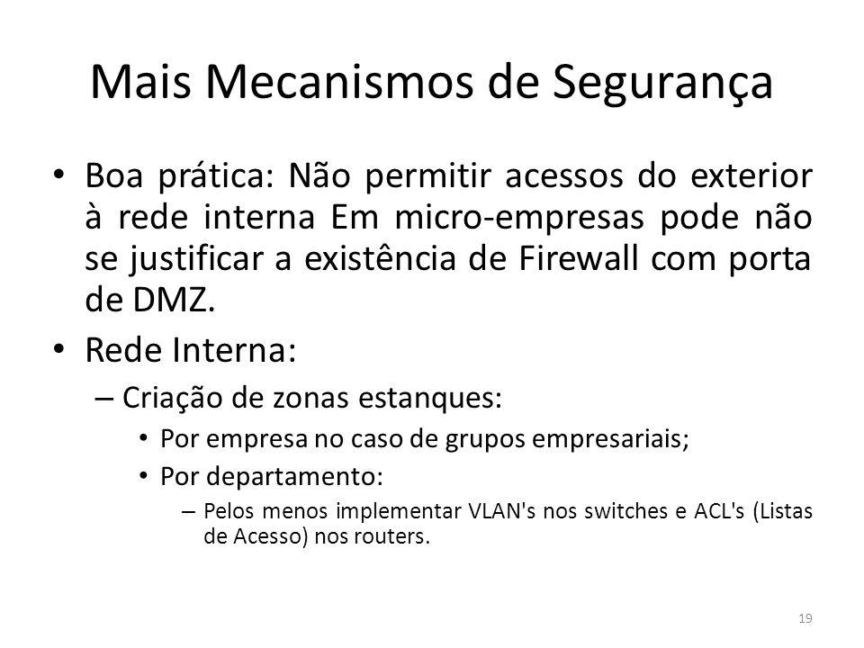 Mais Mecanismos de Segurança Boa prática: Não permitir acessos do exterior à rede interna Em micro-empresas pode não se justificar a existência de Firewall com porta de DMZ.
