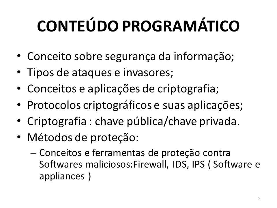 CONTEÚDO PROGRAMÁTICO Conceito sobre segurança da informação; Tipos de ataques e invasores; Conceitos e aplicações de criptografia; Protocolos criptográficos e suas aplicações; Criptografia : chave pública/chave privada.