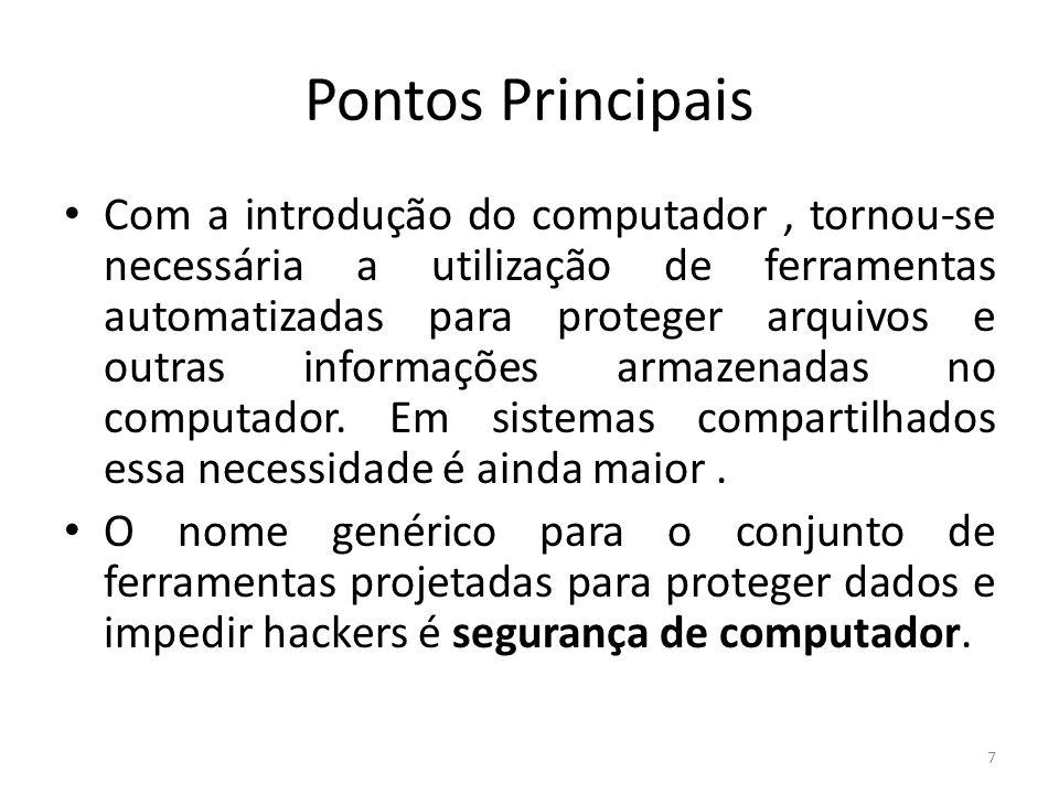 Pontos Principais Com a introdução do computador, tornou-se necessária a utilização de ferramentas automatizadas para proteger arquivos e outras informações armazenadas no computador.