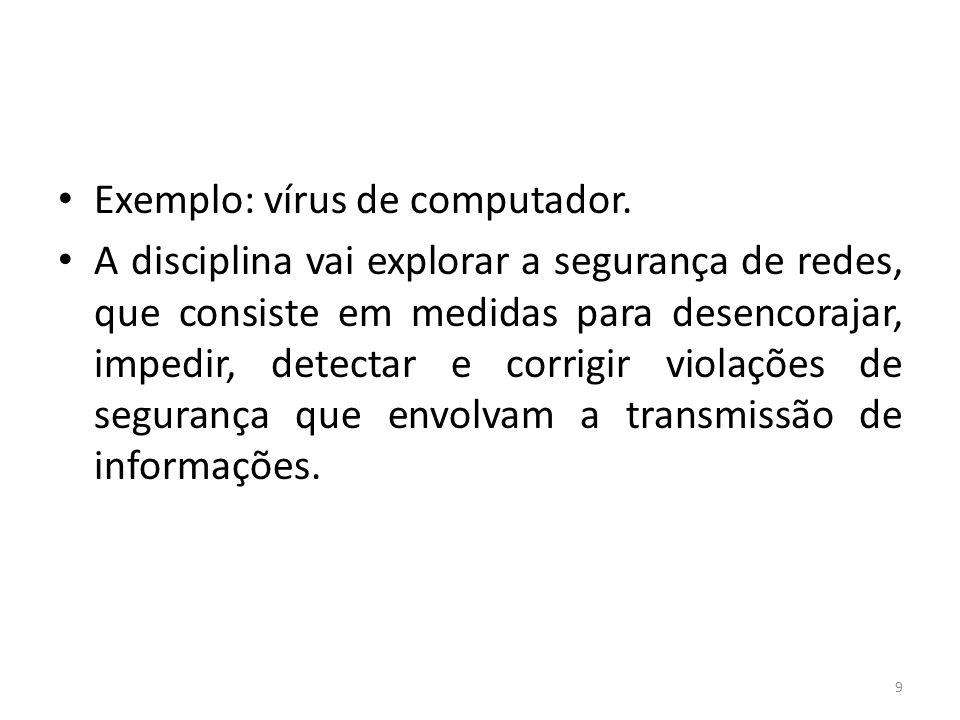 Exemplo: vírus de computador.