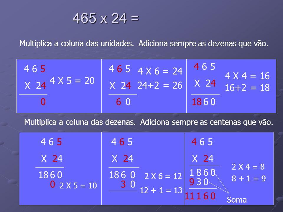 465 x 24 = Multiplica a coluna das dezenas. Adiciona sempre as centenas que vão. 4 6 5 X 24 4 X 5 = 20 4 6 5 X 24 4 X 6 = 24 4 6 5 X 24 4 X 4 = 16 006