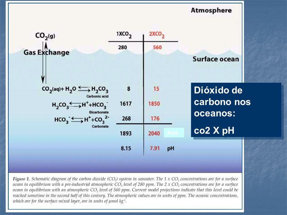 Dióxido de carbono nos oceanos: co2 X pH Dióxido de carbono nos oceanos: co2 X pH Ano
