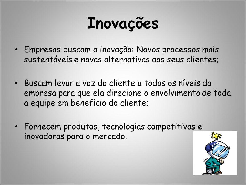 Inovações Empresas buscam a inovação: Novos processos mais sustentáveis e novas alternativas aos seus clientes; Buscam levar a voz do cliente a todos