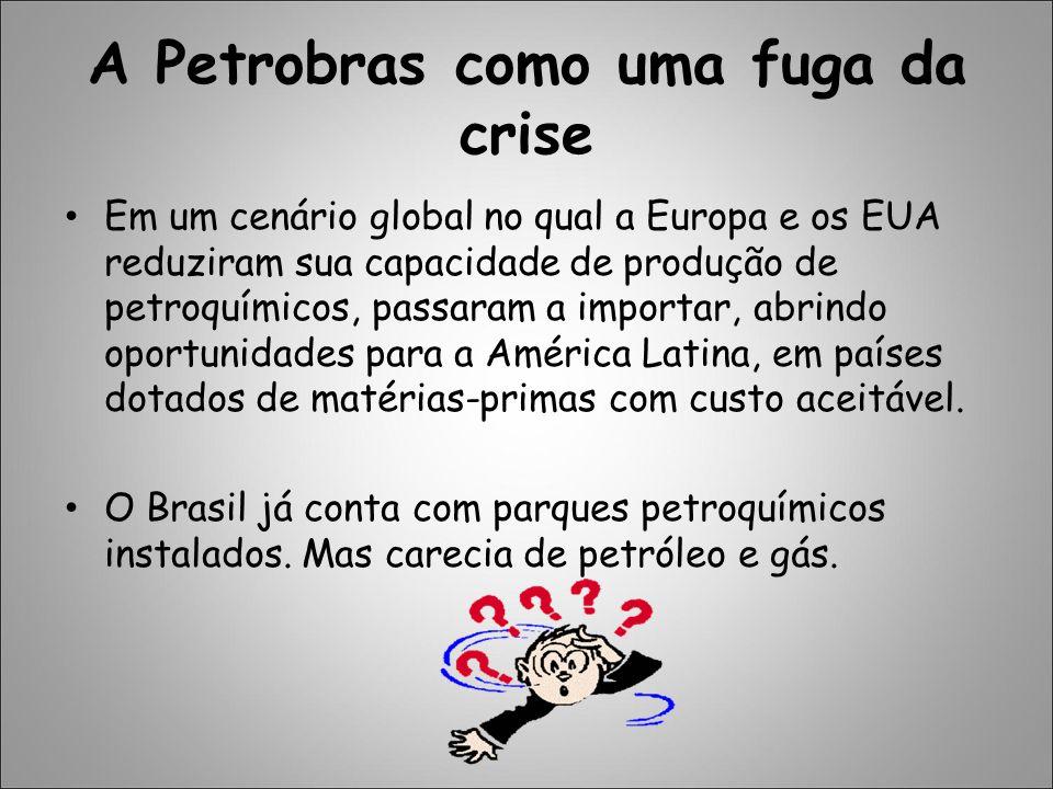 A Petrobras como uma fuga da crise Em um cenário global no qual a Europa e os EUA reduziram sua capacidade de produção de petroquímicos, passaram a im