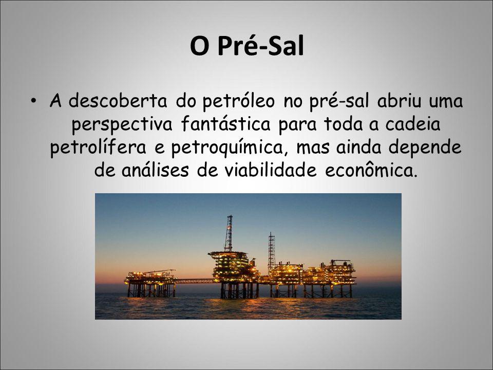 O Pré-Sal A descoberta do petróleo no pré-sal abriu uma perspectiva fantástica para toda a cadeia petrolífera e petroquímica, mas ainda depende de aná