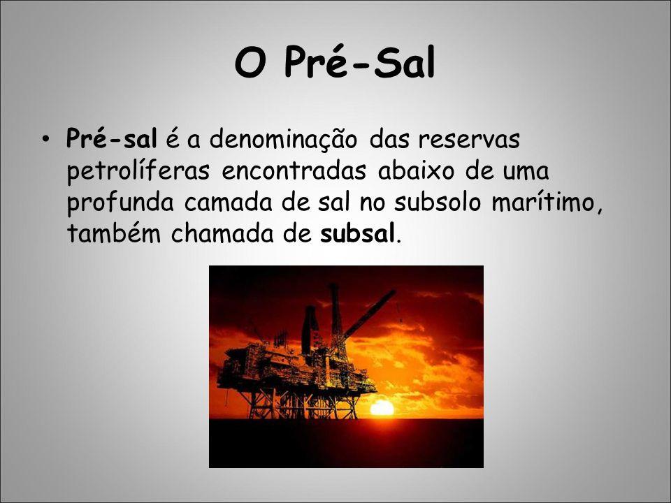 O Pré-Sal Pré-sal é a denominação das reservas petrolíferas encontradas abaixo de uma profunda camada de sal no subsolo marítimo, também chamada de su