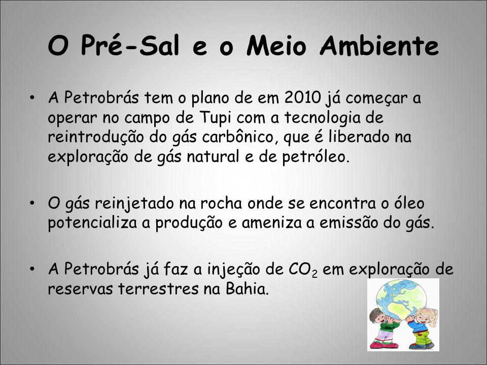 O Pré-Sal e o Meio Ambiente A Petrobrás tem o plano de em 2010 já começar a operar no campo de Tupi com a tecnologia de reintrodução do gás carbônico,
