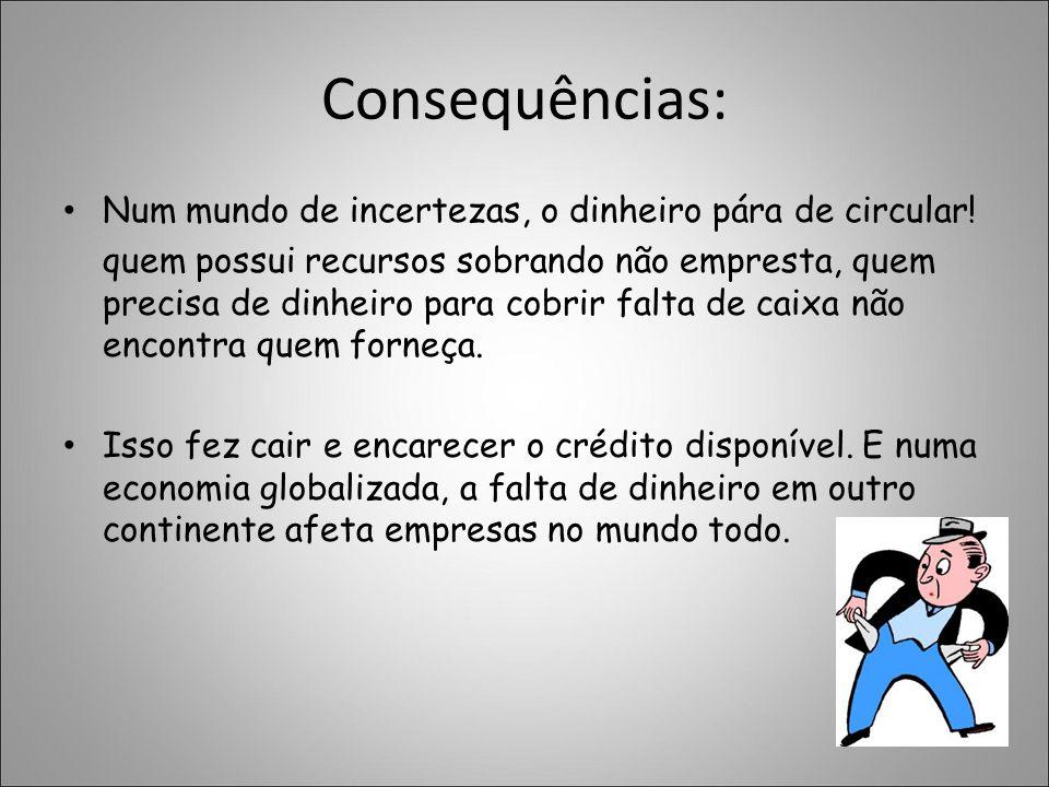 Consequências: Num mundo de incertezas, o dinheiro pára de circular! quem possui recursos sobrando não empresta, quem precisa de dinheiro para cobrir