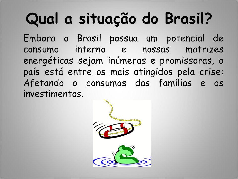 Qual a situação do Brasil? Embora o Brasil possua um potencial de consumo interno e nossas matrizes energéticas sejam inúmeras e promissoras, o país e