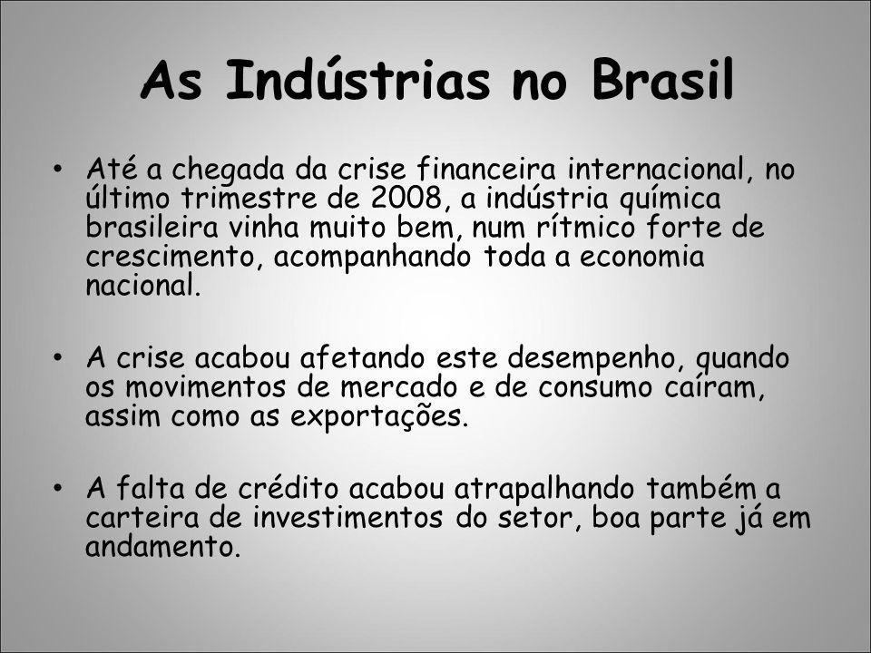 Previsões A ABIQUIM (Associação Brasileira das Indústrias Químicas) previu, no final do ano passado, que a partir de janeiro de 2009 o setor passaria a se recuperar, pois começaria a entender melhor tudo o que aconteceu.