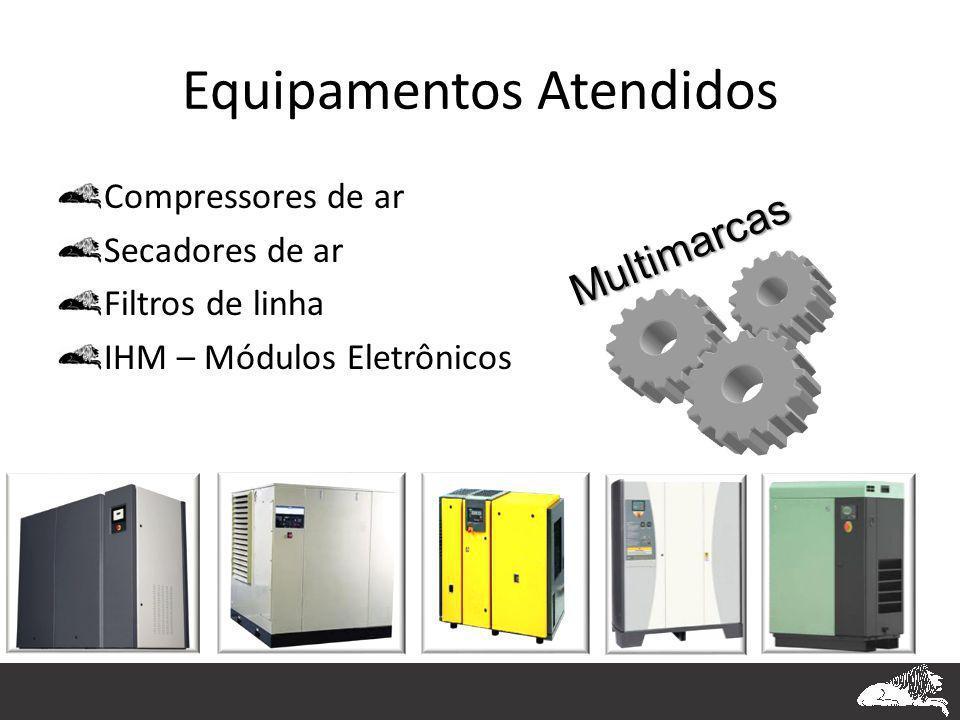 Equipamentos Atendidos Compressores de ar Secadores de ar Filtros de linha IHM – Módulos Eletrônicos Multimarcas