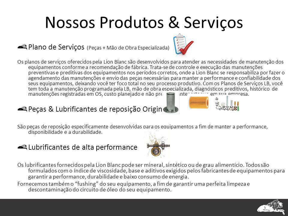Nossos Produtos & Serviços Plano de Serviços (Peças + Mão de Obra Especializada) Os planos de serviços oferecidos pela Lion Blanc são desenvolvidos pa