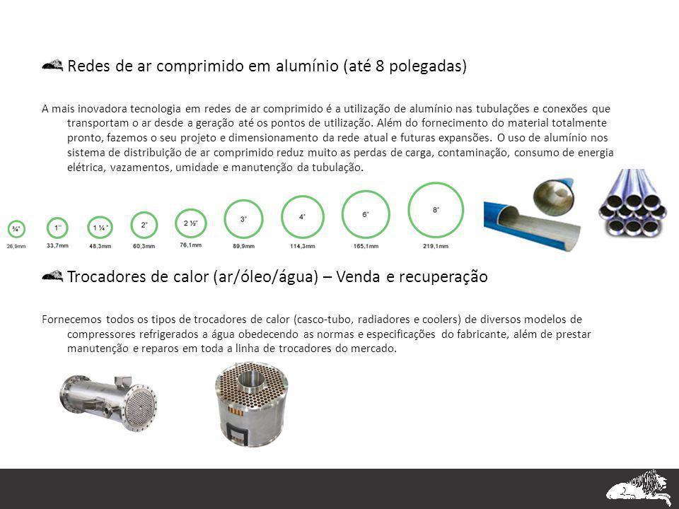 Redes de ar comprimido em alumínio (até 8 polegadas) A mais inovadora tecnologia em redes de ar comprimido é a utilização de alumínio nas tubulações e