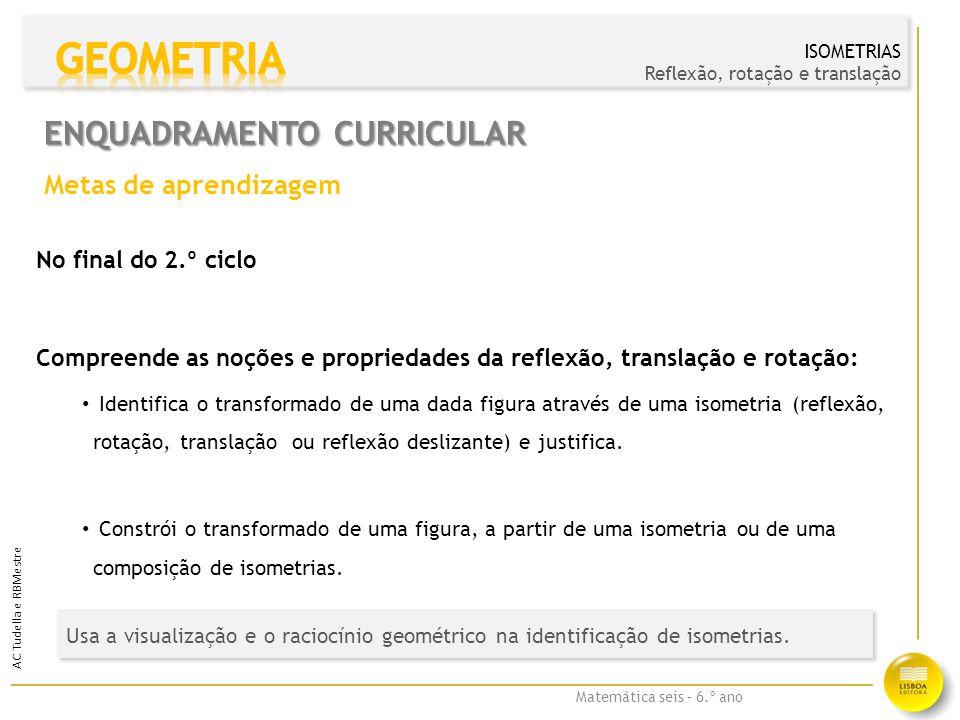 Matemática seis – 6.º ano AC Tudella e RBMestre Uma isometria é uma transformação geométrica que preserva as distâncias, transformando figuras em figuras congruentes.