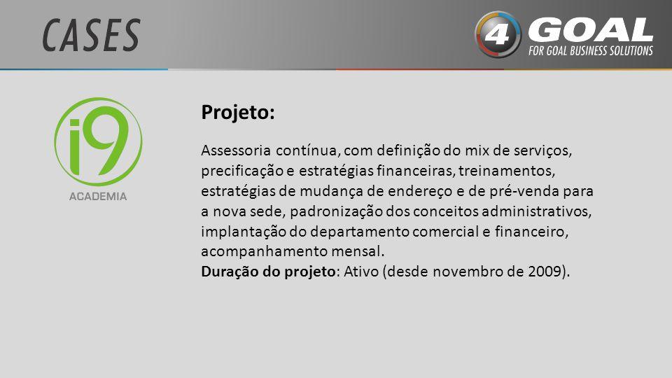 Projeto: Assessoria contínua, com definição do mix de serviços, precificação e estratégias financeiras, treinamentos, estratégias de mudança de endere