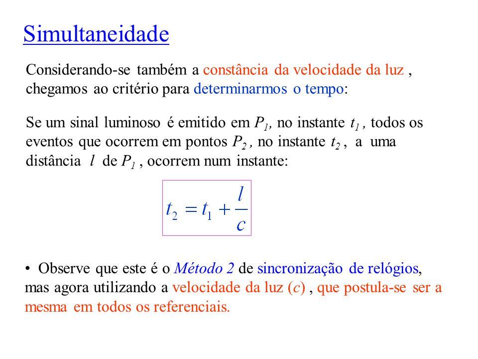 Se um sinal luminoso é emitido em P 1, no instante t 1, todos os eventos que ocorrem em pontos P 2, no instante t 2, a uma distância l de P 1, ocorrem
