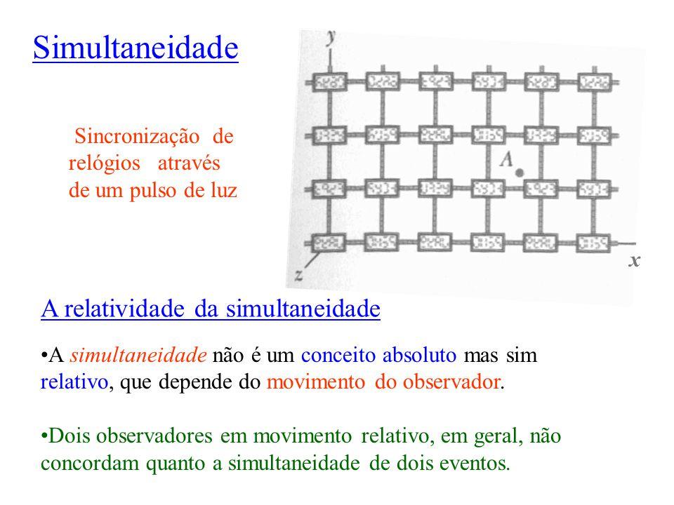 A relatividade da simultaneidade A simultaneidade não é um conceito absoluto mas sim relativo, que depende do movimento do observador. Dois observador