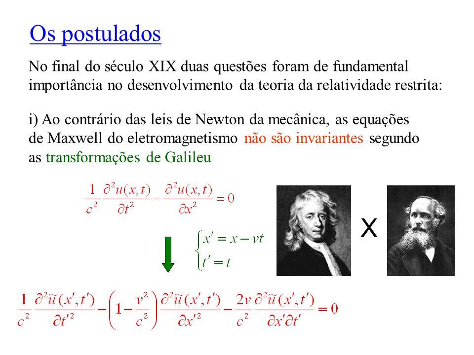Simultaneidade Definição apropriada da simultaneidade (Einstein) : Um evento ocorrendo na posição P 1 e no tempo t 1 é simultâneo a um evento na posição P 2, no tempo t 2, se sinais luminosos emitidos em P 1 e t 1, e em P 2 e t 2, encontram-se no ponto médio entre P 1 e P 2 .