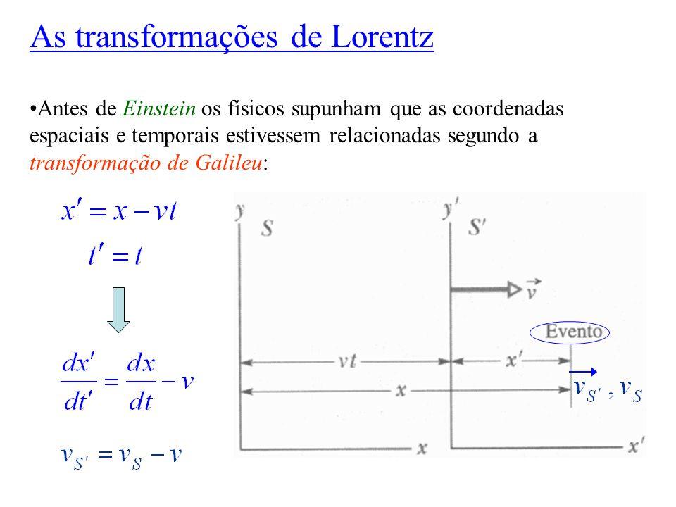 Antes de Einstein os físicos supunham que as coordenadas espaciais e temporais estivessem relacionadas segundo a transformação de Galileu: As transfor