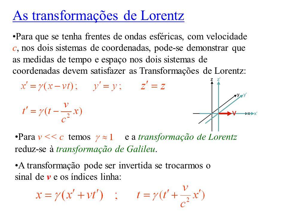 Para que se tenha frentes de ondas esféricas, com velocidade c, nos dois sistemas de coordenadas, pode-se demonstrar que as medidas de tempo e espaço