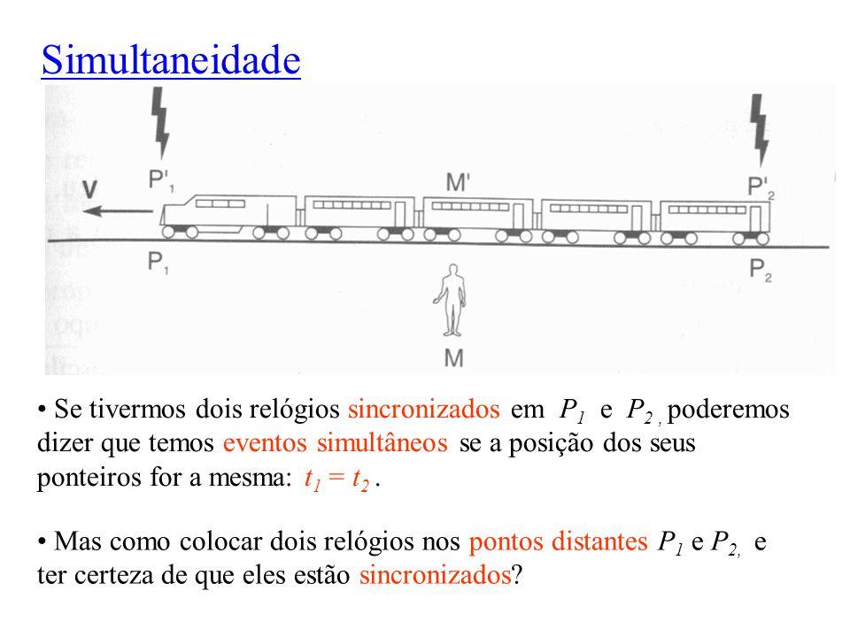 Simultaneidade Se tivermos dois relógios sincronizados em P 1 e P 2, poderemos dizer que temos eventos simultâneos se a posição dos seus ponteiros for