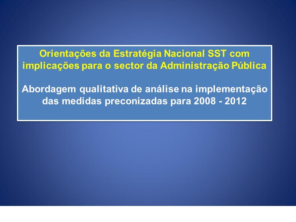 Orientações da Estratégia Nacional SST com implicações para o sector da Administração Pública Abordagem qualitativa de análise na implementação das me