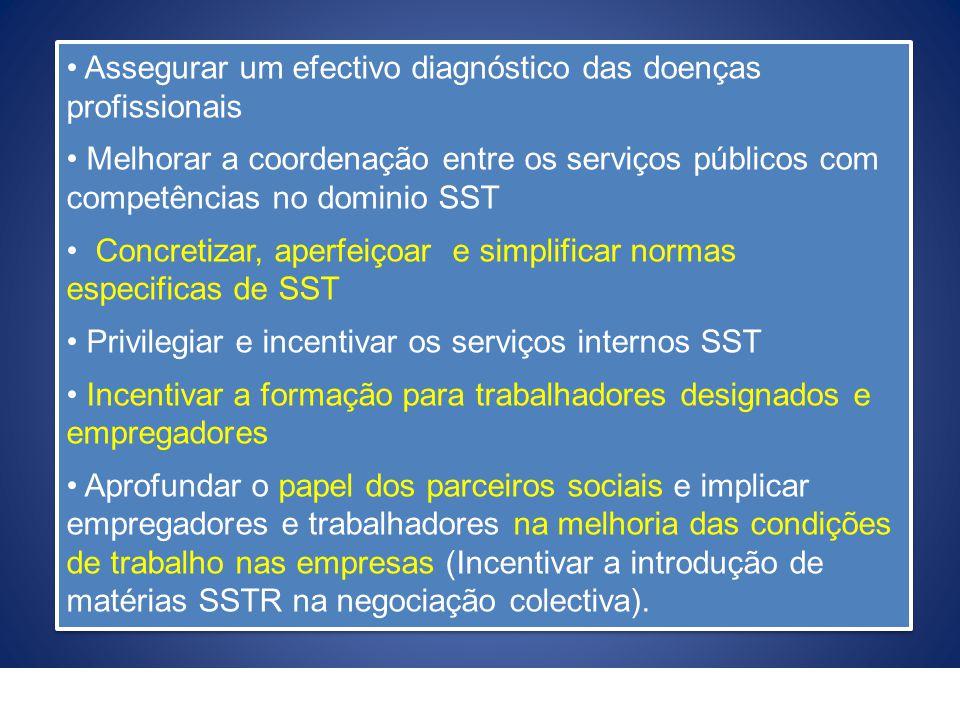 Assegurar um efectivo diagnóstico das doenças profissionais Melhorar a coordenação entre os serviços públicos com competências no dominio SST Concreti