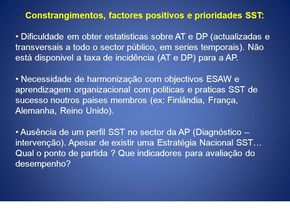 Constrangimentos, factores positivos e prioridades SST: Dificuldade em obter estatisticas sobre AT e DP (actualizadas e transversais a todo o sector p