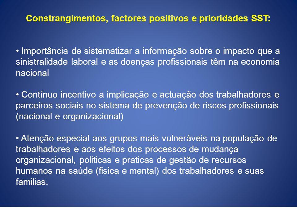 Constrangimentos, factores positivos e prioridades SST: Importância de sistematizar a informação sobre o impacto que a sinistralidade laboral e as doe