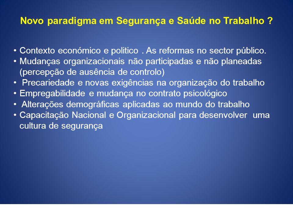Novo paradigma em Segurança e Saúde no Trabalho ? Contexto económico e politico. As reformas no sector público. Mudanças organizacionais não participa