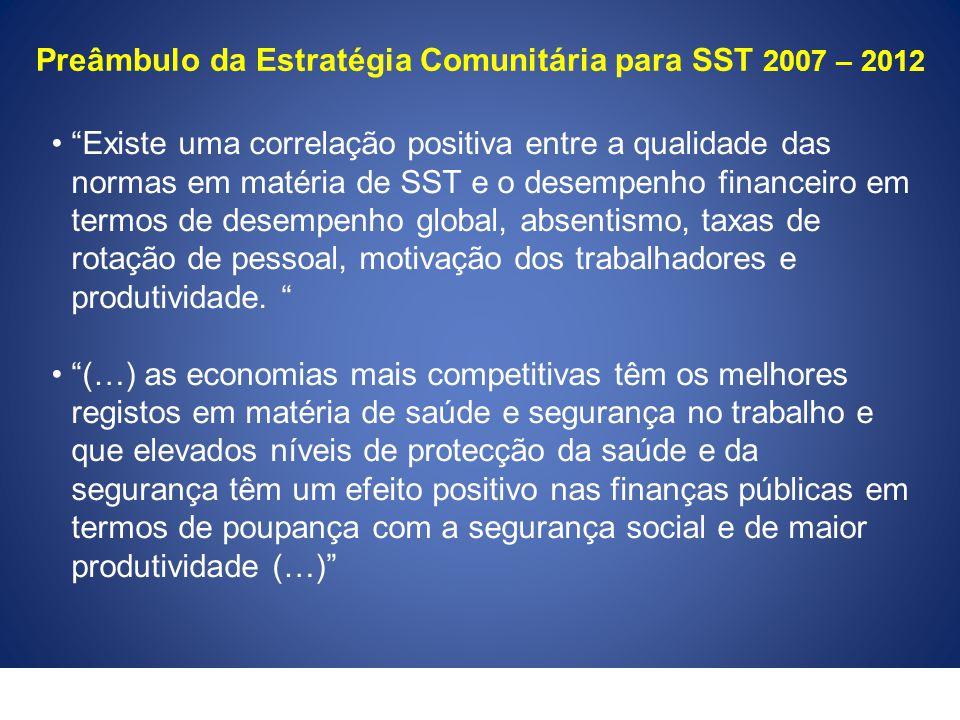 """Preâmbulo da Estratégia Comunitária para SST 2007 – 2012 """"Existe uma correlação positiva entre a qualidade das normas em matéria de SST e o desempenho"""