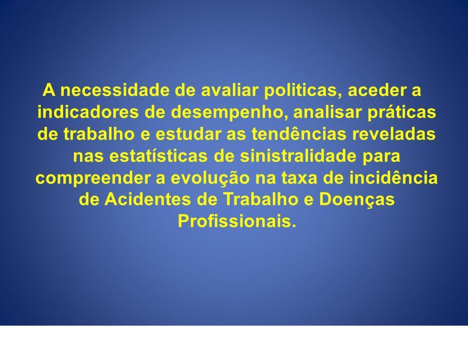 A necessidade de avaliar politicas, aceder a indicadores de desempenho, analisar práticas de trabalho e estudar as tendências reveladas nas estatístic