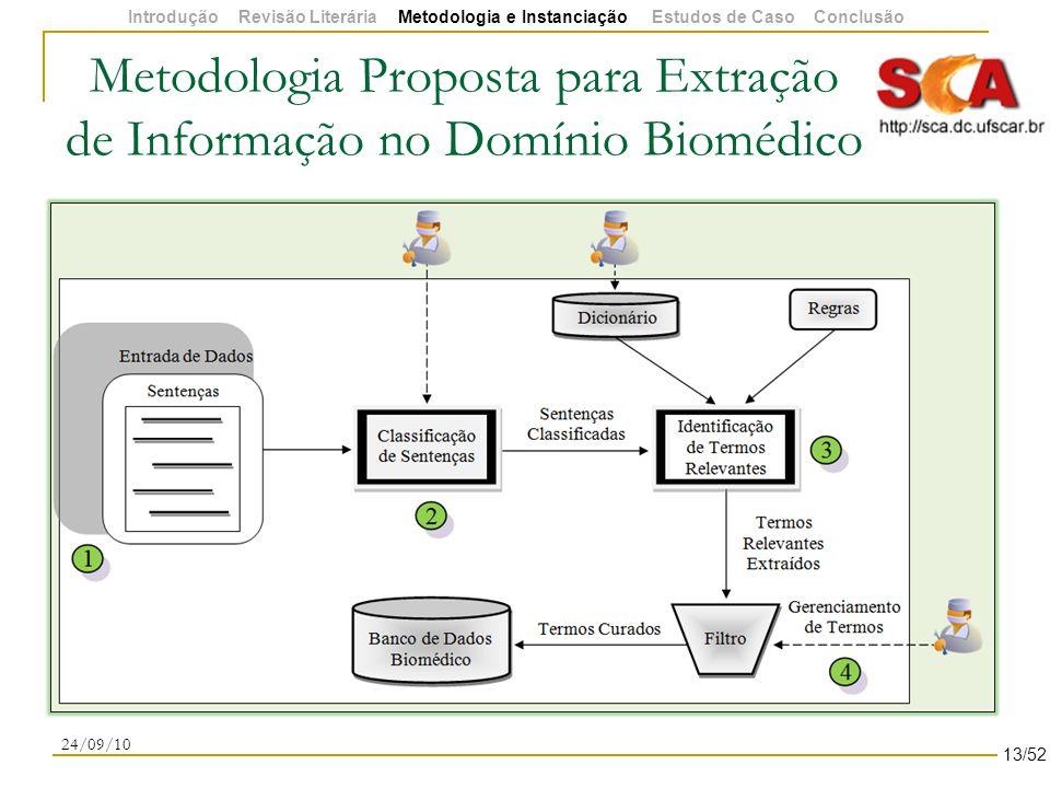 Metodologia Proposta para Extração de Informação no Domínio Biomédico 24/09/10 13/52 Introdução Revisão Literária Metodologia e Instanciação Estudos de Caso Conclusão