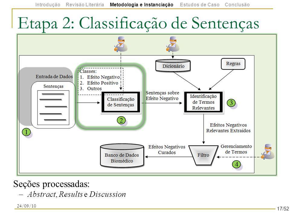 Etapa 2: Classificação de Sentenças 24/09/10 Seções processadas:  Abstract, Results e Discussion 17/52 Introdução Revisão Literária Metodologia e Instanciação Estudos de Caso Conclusão