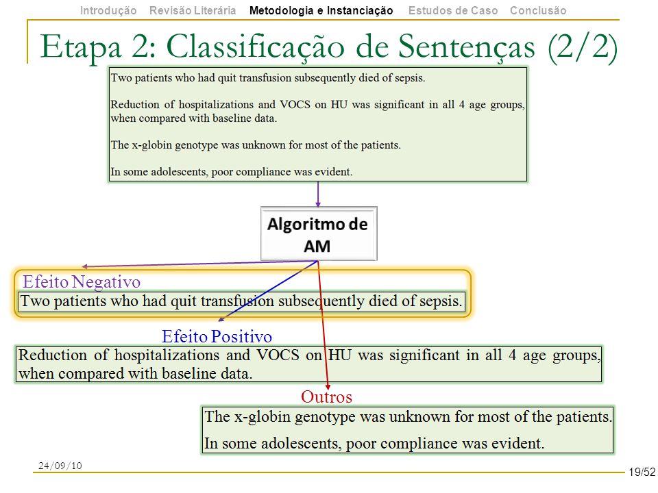 Etapa 2: Classificação de Sentenças (2/2) 24/09/10 Efeito Negativo Efeito Positivo Outros 19/52 Introdução Revisão Literária Metodologia e Instanciação Estudos de Caso Conclusão